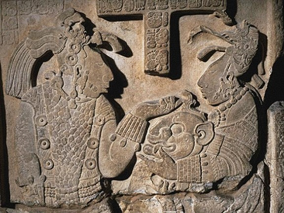 Mayan, Relief of Shield Jaguar and Lady Xoc